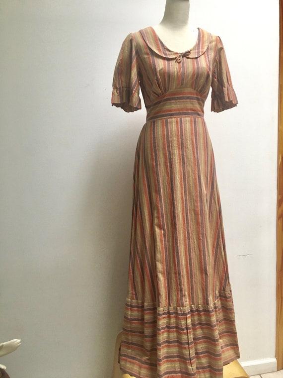 Rainbow Sunset Hues Peasant Maxi Dress // Boho Pra
