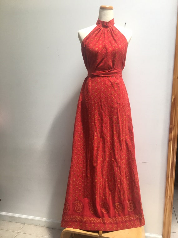 Red Halter Dress with High Collar by India Imports