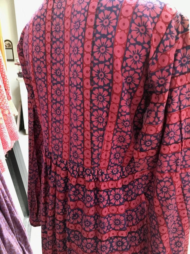 Lace Up Front Malik of India Hand Block Print size Small Corset Maxi Dress Flower Power 1970s size Medium