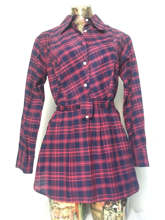1970s India Imports Navy & Pink Cotton Plaid Belte