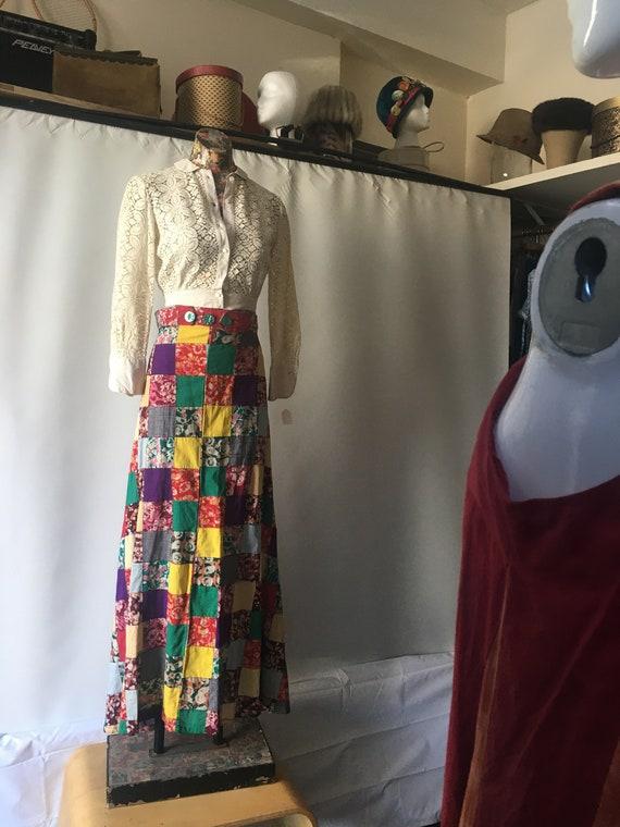 Patchwork Batik Cotton Wrap Skirt  // Size Small R