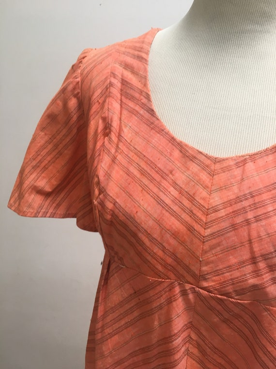 Woven Indian Cotton Orange 1970s Blouse by India I