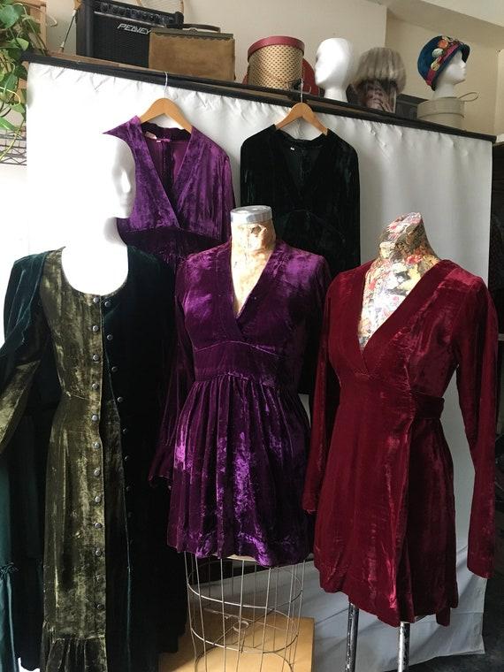 Six Medium Velvet Dresses by India Imports of Rhod