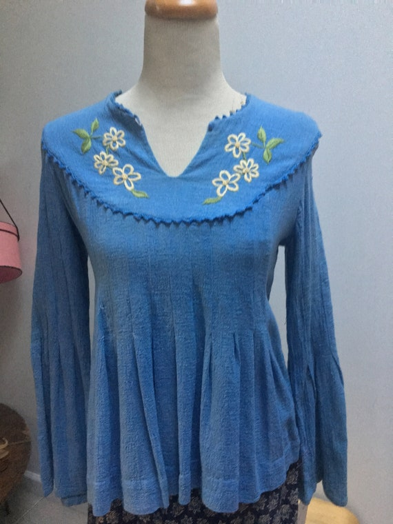 Cotton Gauze Peasant Top in Pink or Blue by India