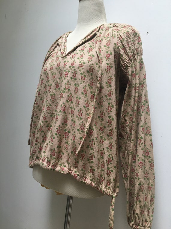 70s India Imports Vintage Poet Blouse in Beige Ca… - image 2