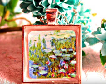 Claude Monet - Water Lilies Artwork Necklace (shipping included)