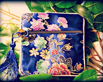 Blue Satin Brocade Fabric Purse (shipping included)
