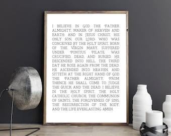 DIGITAL FILE ONLY. Reformed Decor. Home Decor. Reformed Print. Apostles Creed. Theology Decor. Theology Print. Minimalist. Farmhouse.