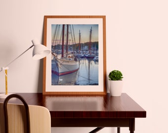 Maine Print. Maine Photo. Photography. Travel Print. Harbor. Boats.