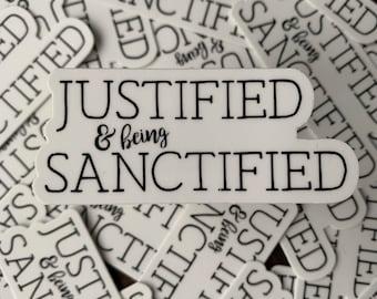 Reformed sticker. Vinyl sticker. Justification. Sanctification. Reformed Theology. Westminster Shorter Catechism. Catechism.