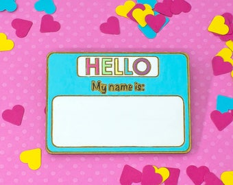 laser cut / hand painted wooden brooch - name tag (CUSTOMISABLE)