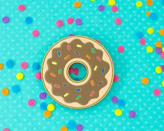 laser cut / hand painted wooden brooch - chocolate donut with sprinkles