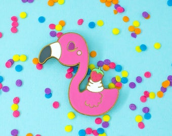 laser cut / hand painted wooden brooch - flamingo with a strawberry
