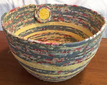 Large, Cloth Wrapped, Coiled Clothesline Basket, Christmas, Gift, Bowl, Slate Blue, Yellow, Floral, Storage, Decor, Towel or Magazine Holder
