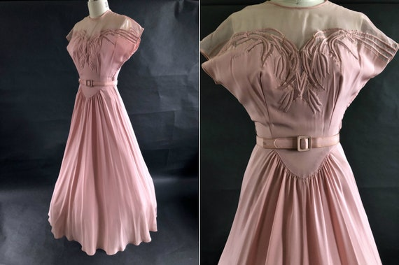 1940's Pink Sweetheart Illusion Neckline Ball Gown