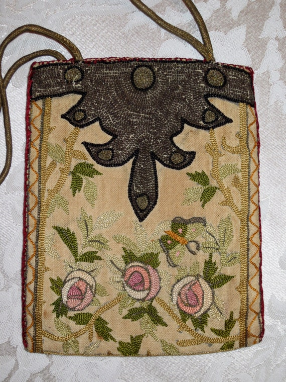 Art Deco French Boudoir Handbag w/ Poiret Rose & B