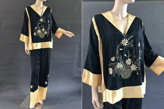 Black Silk 1930's Beach Pajamas with Hand Embroide