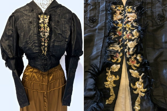 Black Silk Taffeta Jacket /Bodice: Mutton Sleeves,
