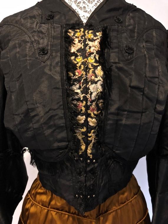 Black Silk Taffeta Jacket /Bodice: Mutton Sleeves… - image 8