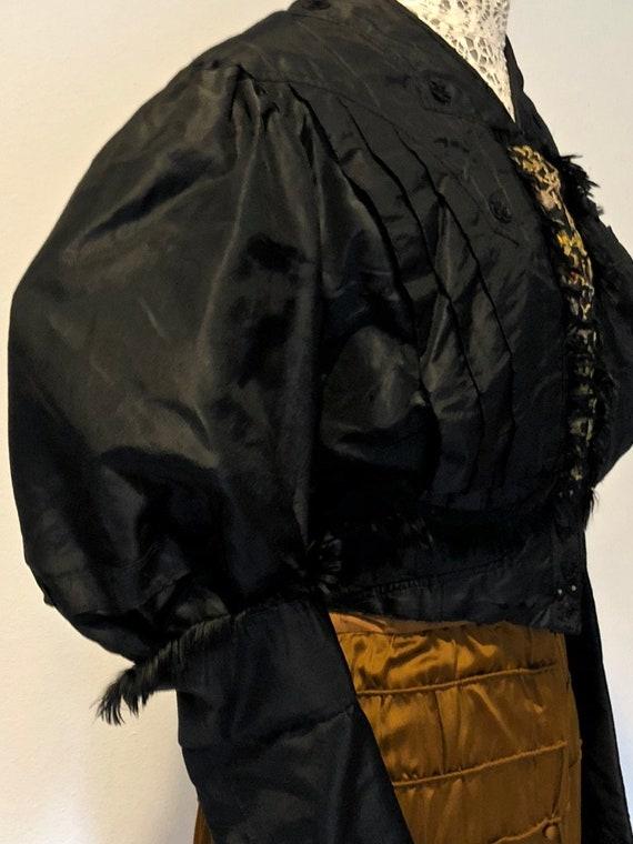 Black Silk Taffeta Jacket /Bodice: Mutton Sleeves… - image 9