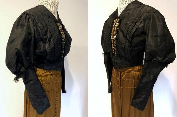 Black Silk Taffeta Jacket /Bodice: Mutton Sleeves… - image 2