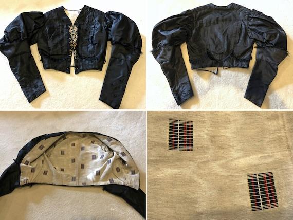Black Silk Taffeta Jacket /Bodice: Mutton Sleeves… - image 3