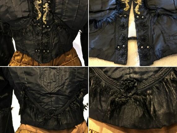 Black Silk Taffeta Jacket /Bodice: Mutton Sleeves… - image 5
