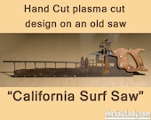 Metal Art California Surf Saw - Plasma Cut by Hand handsaw | Wall Decor | Garden Art | Recycled Art | Made to Order for a West Coast Surfer