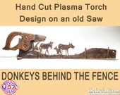 Donkeys and Fence Metal Art Rustic HAND cut handsaw design. Wall Decor, Recycled Art & Repurposed Made to Order for ranchers