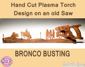 Rodeo Bronco Busting Scene Metal Art design - Hand cut (plasma torch) hand saw Wall Decor | Garden Art Recycled Art Repurposed Made to Order