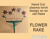 Metal Art Rake with Garden Flowers design - Hand (plasma) Cut | Wall Decor | Garden Art | Garden Decor | Vintage Art - Made To Order