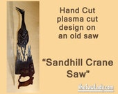 Sandhill Crane Design Hand (plasma) Cut Hand Saw Metal Art | Wall Decor | Garden Art | Recycled Art | Repurposed  - Made to Order