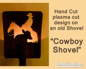 Metal Art Cowboy and Calf design Hand (plasma) Cut Shovel Backlit | Wall Decor | Garden Art | Recycled Art | Repurposed  - Made to Order