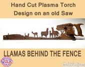 Llamas and Fence Metal Art Rustic HAND cut handsaw design. Wall Decor, Recycled Art & Repurposed Made to Order for ranchers