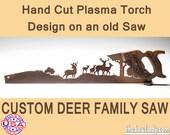 Custom Deer Family Metal Art design - Hand cut (plasma torch) hand saw Wall Decor | Garden Art Recycled Art Repurposed Made to Order