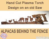 Alpacas and Fence Metal Art Rustic HAND cut handsaw design. Wall Decor, Recycled Art & Repurposed Made to Order for ranchers