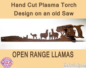 Open Range Llamas Metal Art Rustic HAND cut handsaw design. Wall Decor, Recycled Art & Repurposed Made to Order for ranchers