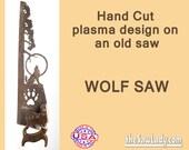Wolf Howling with Paw Print  Hand (Plasma) cut Hand Saw Metal Art Garden Art  Cabin Art Wall Art Deer Hunting Buck - Made to Order