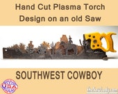Southwest Cowboy on horse w/ Cactus Metal Art Hand (plasma) cut handsaw. Wall Decor, Man Cave decor Recycled Art Made to Order for Cowboys