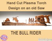 Bull Riding Scene Metal Art design - Hand cut (plasma torch) hand saw Wall Decor | Garden Art Recycled Art Repurposed Made to Order