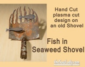Metal Art Fish in Seaweed Shovel - Hand (plasma) Cut Shovel | Wall Decor | Garden Art | Recycled Art | Repurposed  - Made to Order fisherman