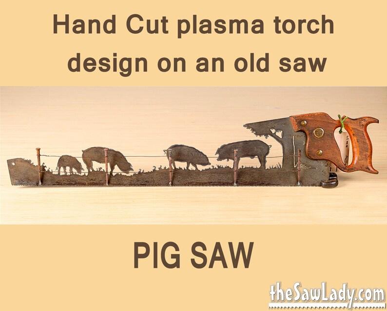 Metal Art Rustic custom cut handsaw Pigs and Fence design  image 0