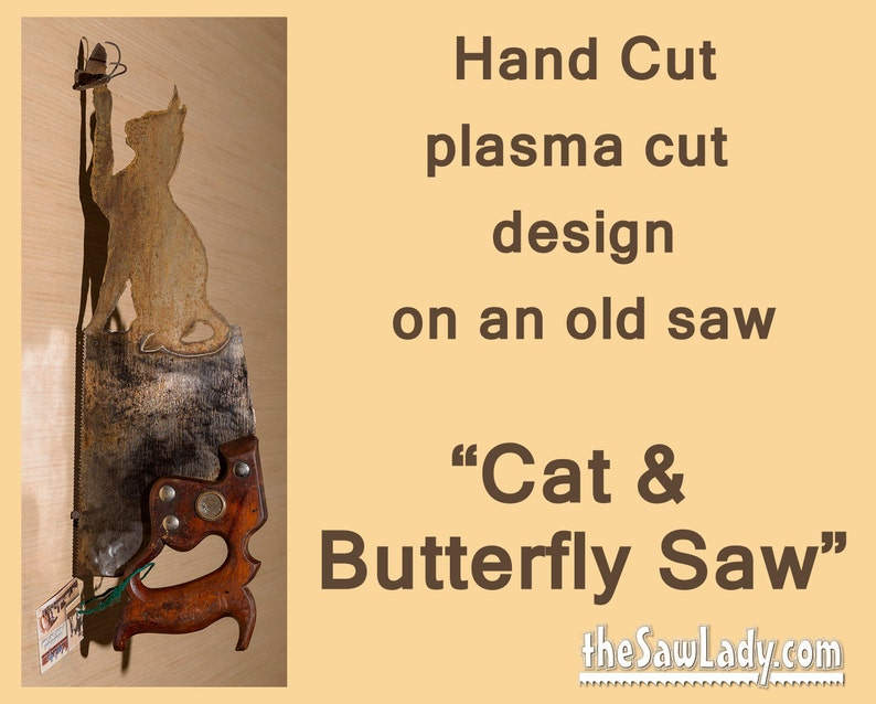 Cat and Butterfly design on Hand plasma cut handsaw Metal image 0