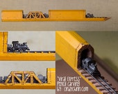 Pencil Carving - Train and Trestles Incredible Detail  Micro Pencil Lead Carving Made to Order special gift railroad fans and train lovers
