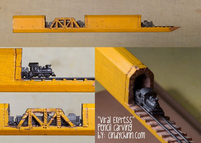 Pencil Carving  Train and Trestles Incredible Detail  Micro image 0