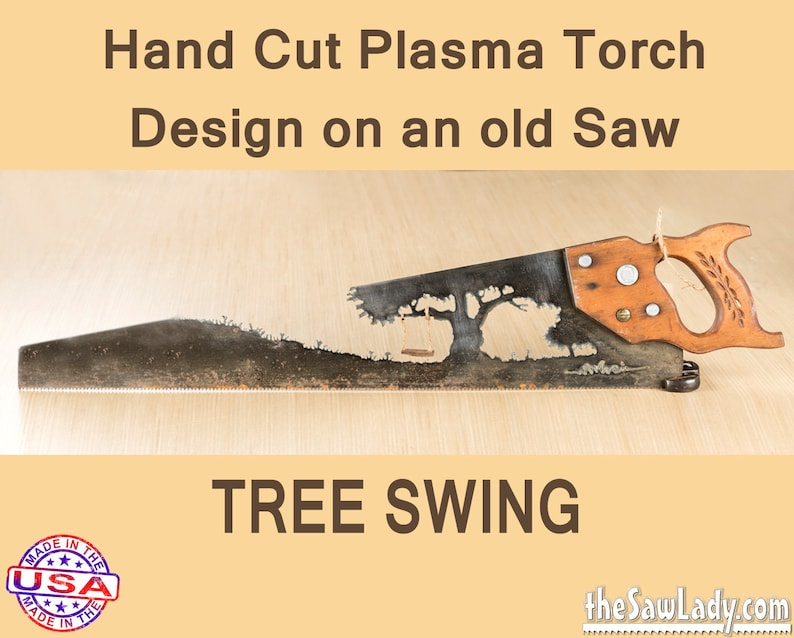 Swing on a Tree design Metal Art Rustic custom hand saw is image 0
