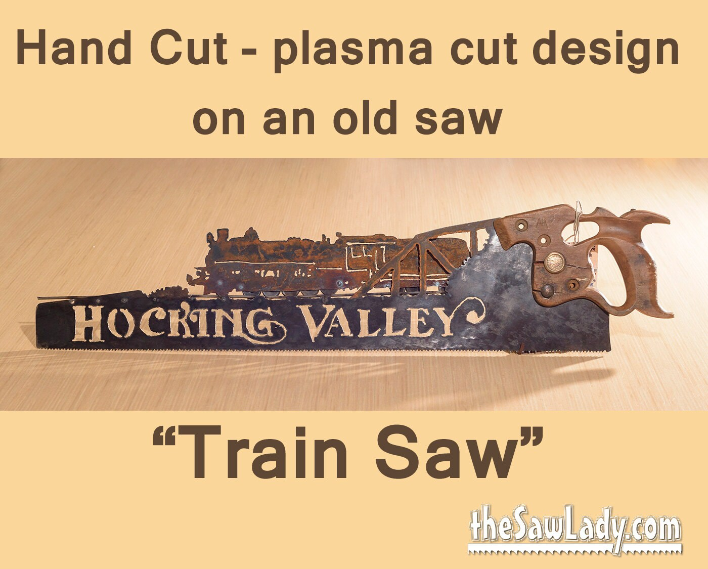 TRAIN or Railroad design Hand plasma cut hand saw Metal Art | Etsy