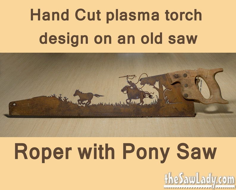 Metal Art Cowboy or Cowgirl Roper and pony design. Hand image 0
