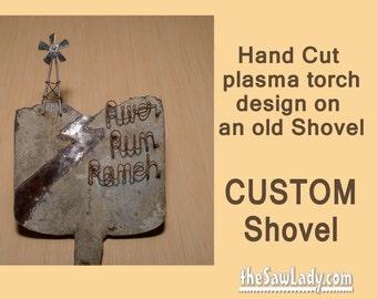 CUSTOM DESIGN Shovel Hand (plasma) Cut Wall Decor | Garden Art | Yard Art | Recycled Metal | Repurposed | Made To Order just for you!