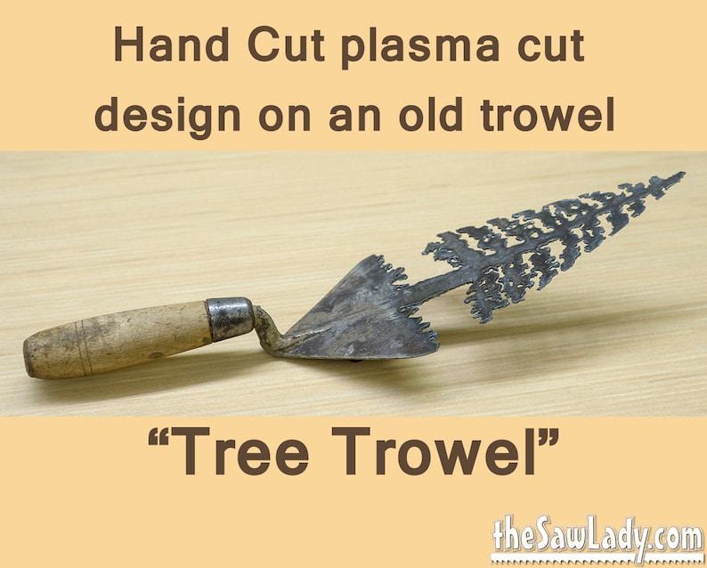 Masonry Trowel w/ Pine Tree Metal Art Design Hand plasma image 0